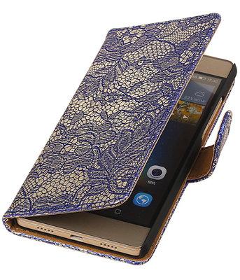 Hoesje voor Huawei Ascend P7 - Lace Blauw Booktype Wallet