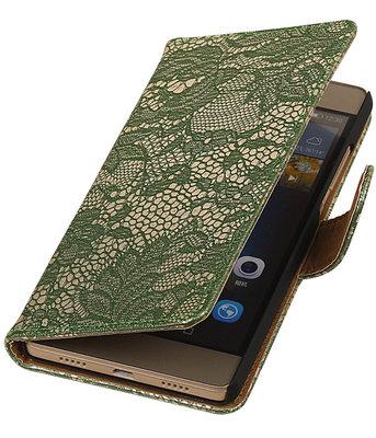 Hoesje voor Huawei Ascend P7 - Lace Donker Groen Booktype Wallet