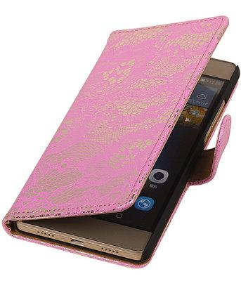Hoesje voor Huawei Ascend P7 - Lace Roze Booktype Wallet