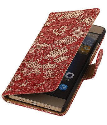 Hoesje voor Huawei Ascend P7 - Lace Rood Booktype Wallet