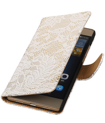 Hoesje voor Huawei Ascend P7 - Lace Wit Booktype Wallet