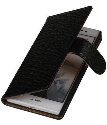 Hoesje voor Huawei Ascend P7 - Slang Zwart Bookstyle Wallet