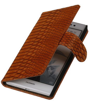 Hoesje voor Huawei Ascend P7 - Slang Bruin Bookstyle Wallet