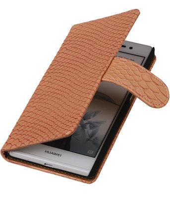 Huawei Ascend P7 - Slang Roze Bookstyle Wallet Hoesje