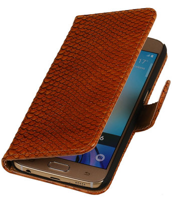 Hoesje voor Samsung Galaxy S4 Mini - Slang Bruin Bookstyle Wallet
