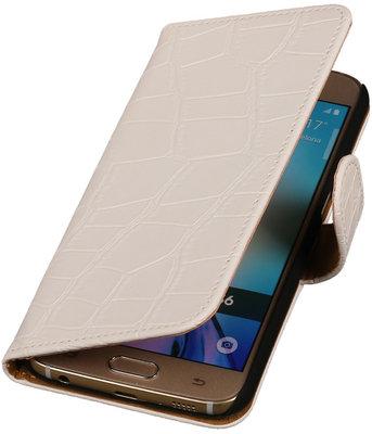 Samsung Galaxy S3 - Croco Wit Booktype Wallet Hoesje
