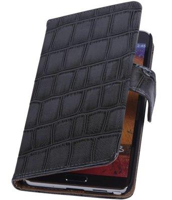 Hoesje voor Samsung Galaxy Note 3 Neo - Croco Grijs Booktype Wallet