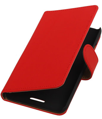 HTC One E8 - Effen Rood Booktype Wallet Hoesje