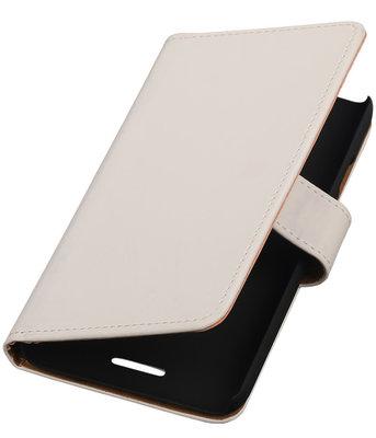 Hoesje voor HTC One E8 - Effen Wit Booktype Wallet