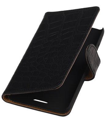 Hoesje voor HTC One E8 - Croco Zwart Booktype Wallet