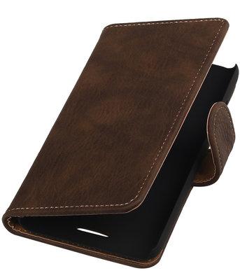 Hoesje voor HTC One E8 - Hout Donker Bruin Booktype Wallet