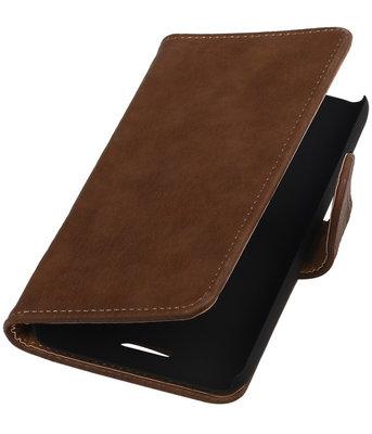 Hoesje voor HTC One E8 - Hout Bruin Booktype Wallet