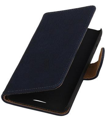 HTC One E8 - Hout Blauw Booktype Wallet Hoesje
