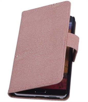 HTC One S - Ribbel Licht Roze Booktype Wallet Hoesje