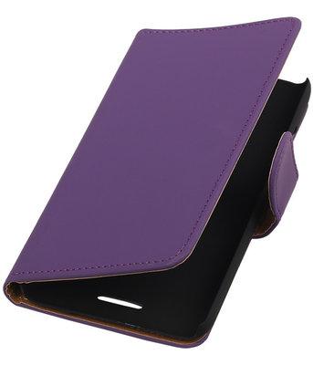 HTC One SV - Effen Paars Booktype Wallet Hoesje