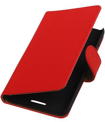 Hoesje voor HTC One SV - Effen Rood Booktype Wallet