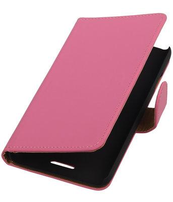 HTC One SV - Effen Roze Booktype Wallet Hoesje