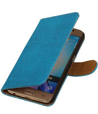 Blauw Ribbel booktype wallet cover voor Hoesje voor HTC Desire 700