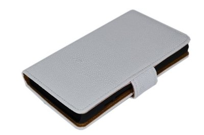 Wit Ribbel booktype wallet cover voor Hoesje voor HTC One Max