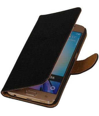 Zwart Ribbel booktype wallet cover voor Hoesje voor HTC One Max