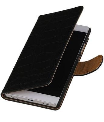 Hoesje voor Huawei Ascend G6 4G - Krokodil Zwart Booktype Wallet