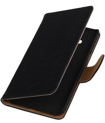 Hoesje voor Samsung Galaxy J3 - Krokodil Zwart Booktype Wallet