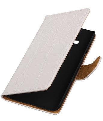 Hoesje voor Samsung Galaxy J3 - Krokodil Wit Booktype Wallet