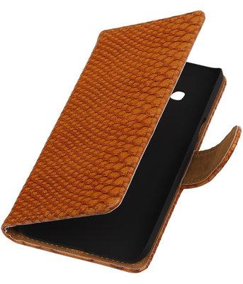 Hoesje voor Samsung Galaxy J3 - Slang Bruin Booktype Wallet