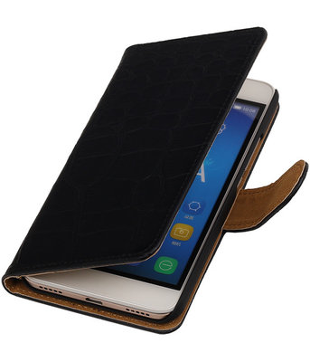 Huawei Honor Y6 / 4A - Croco Booktype Wallet Hoesje Zwart