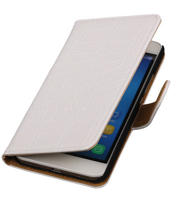 Huawei Honor Y6 - Croco Booktype Wallet Hoesje Wit