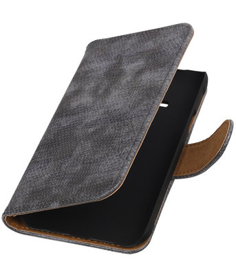 Hoesje voor Samsung Galaxy J1 Ace - Mini Slang Grijs Booktype Wallet