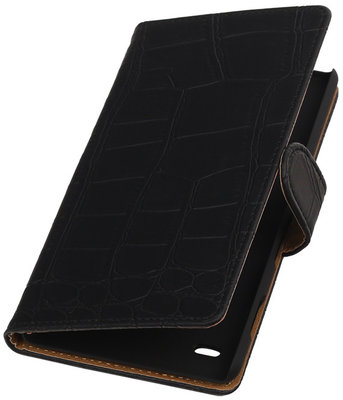 Apple iPod Touch 5/6- Krokodil Zwart Booktype Wallet Hoesje