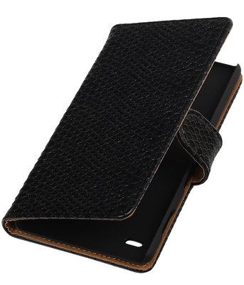Hoesje voor Huawei Ascend Y550 - Slang Zwart Booktype Wallet