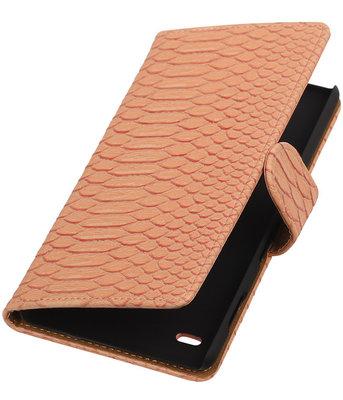 Hoesje voor Huawei Ascend Y550 - Slang Roze Booktype Wallet