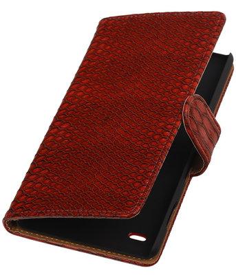 Hoesje voor Huawei Ascend Y550 - Slang Rood Booktype Wallet