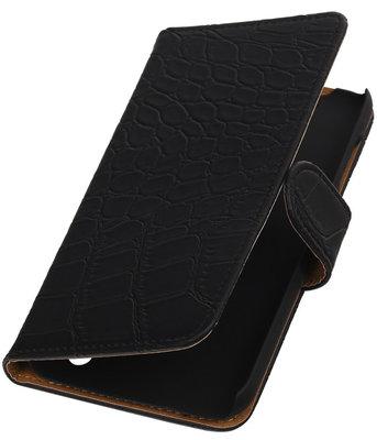 Hoesje voor Huawei Y625 - Krokodil Zwart Booktype Wallet