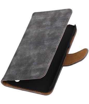 Hoesje voor Huawei Y625 - Mini Slang Grijs Booktype Wallet