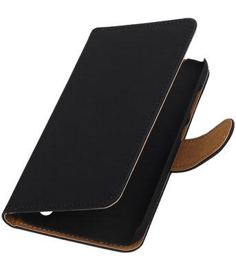 Hoesje voor Huawei Y625 - Effen Zwart Booktype Wallet Zwart