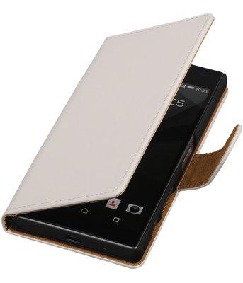 Sony Xperia Z1 Compact - Effen Wit Booktype Wallet Hoesje
