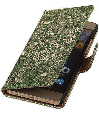 Hoesje voor Sony Xperia Z5 Compact - Lace Donker Groen Booktype Wallet