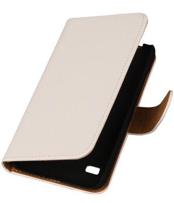 Wit Huawei Ascend Y550 Book/Wallet Case/Cover