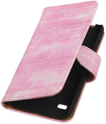 Hoesje voor Huawei Ascend Y550 Booktype Wallet Mini Slang Roze