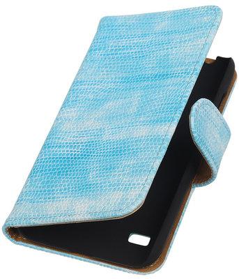 Hoesje voor Huawei Ascend Y550 Booktype Wallet Mini Slang Blauw