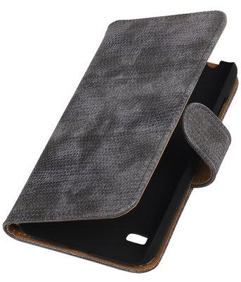Huawei Ascend Y550 Booktype Wallet Hoesje Mini Slang Grijs