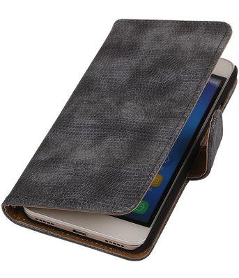 Hoesje voor Huawei Honor Y6 - Mini Slang Grijs Booktype Wallet