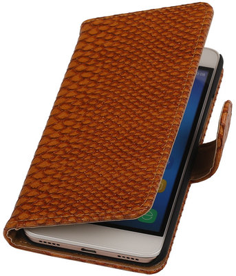 Hoesje voor Huawei Honor Y6 - Slang Bruin Booktype Wallet