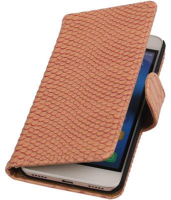 Huawei Honor 4A - Slang Roze Booktype Wallet Hoesje