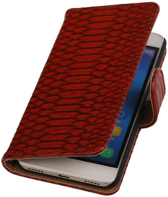 Hoesje voor Huawei Honor Y6 - Slang Rood Booktype Wallet