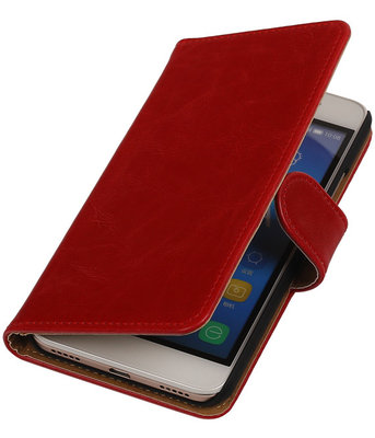 Rood Pull-Up PU Hoesje voor Huawei Honor Y6 Booktype Wallet Cover