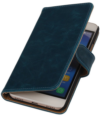 Blauw Pull-Up PU Hoesje voor Huawei Honor Y6 / 4A Booktype Wallet Cover